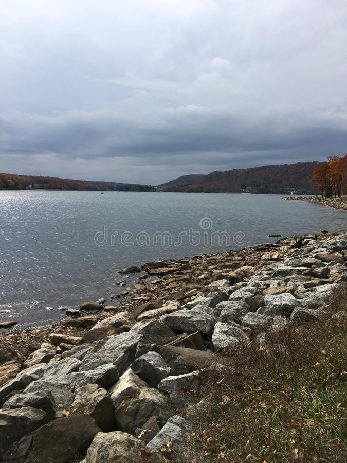 Deep Creek, MD beach on an Autumn day stock photography