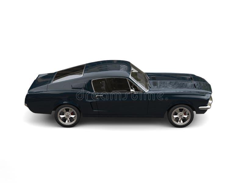 Deep dark blue American vintage muscle car - top down side view stock photos