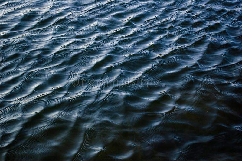 Deep dark blue river surface texture ripple water background royalty free stock photography