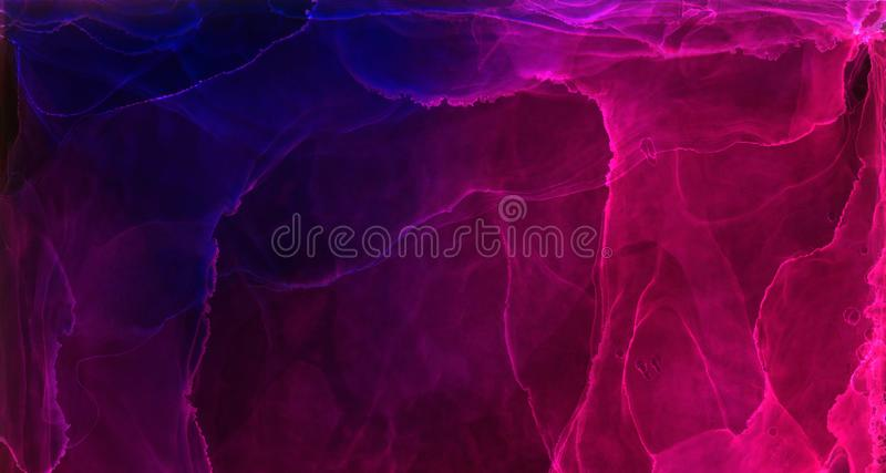 Deep dark bright blue, pink and purple alcohol ink neon abstract background. Flow liquid watercolor paint splash texture effect. Illustration for card design vector illustration