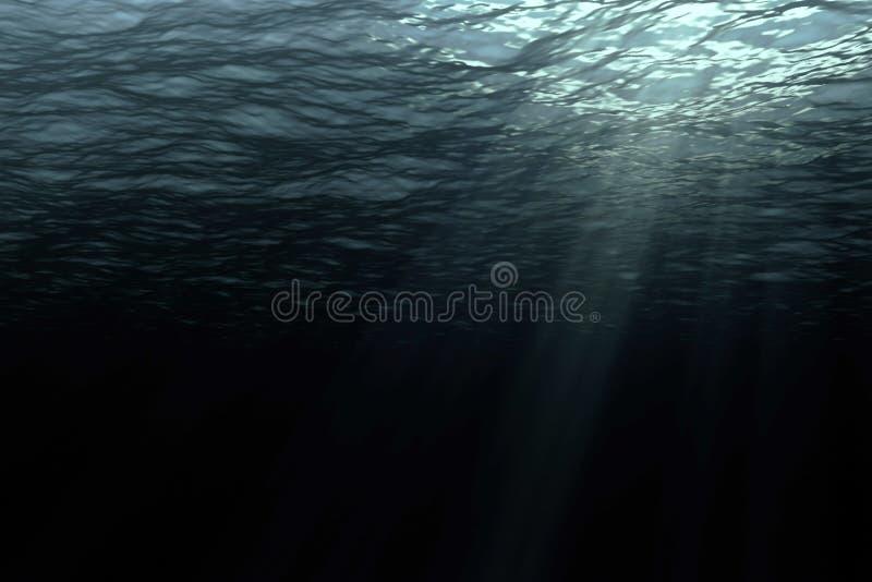 deep dark ocean waves from underwater background stock