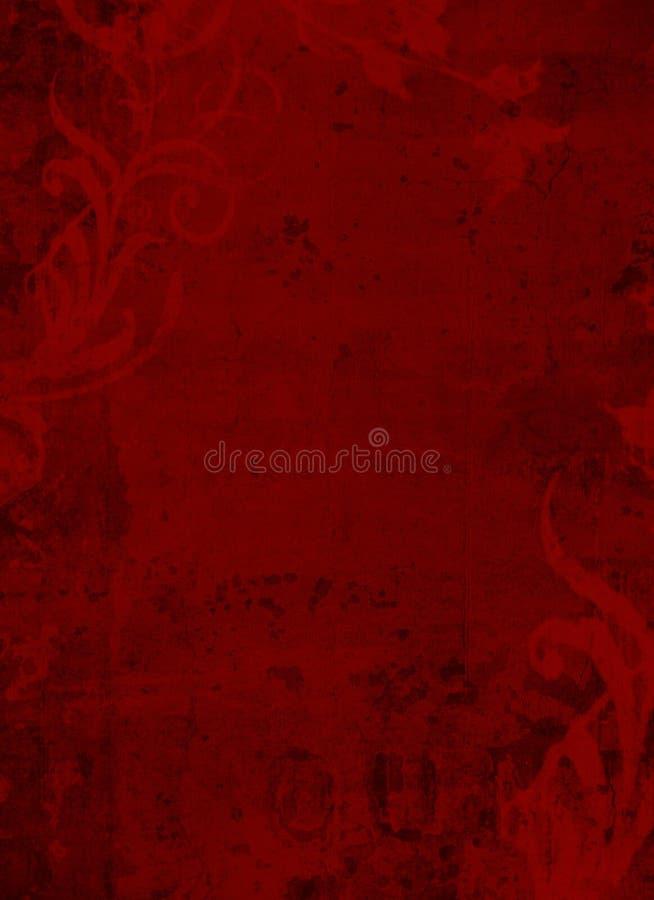 Deep Dark Red Floral Grunge Textured Background stock photos