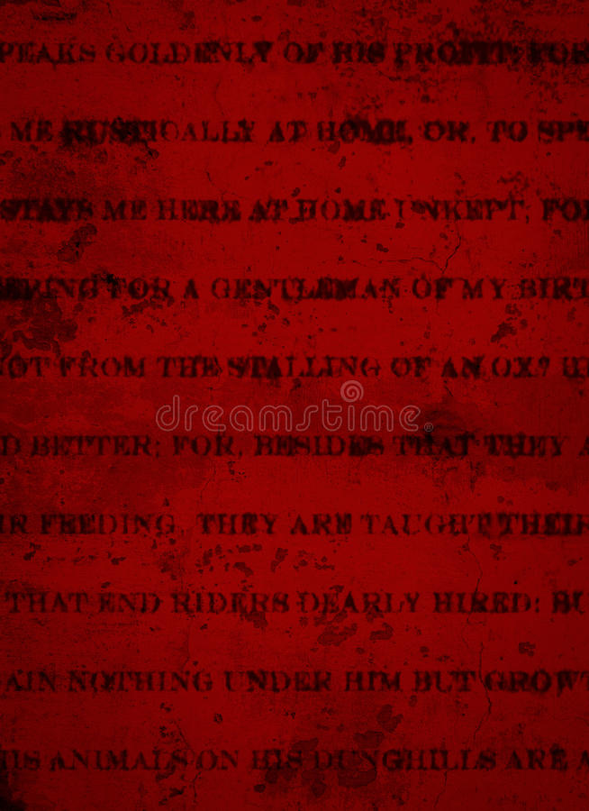 Deep Dark Red Grunge Background with Black Rustic Print royalty free stock image