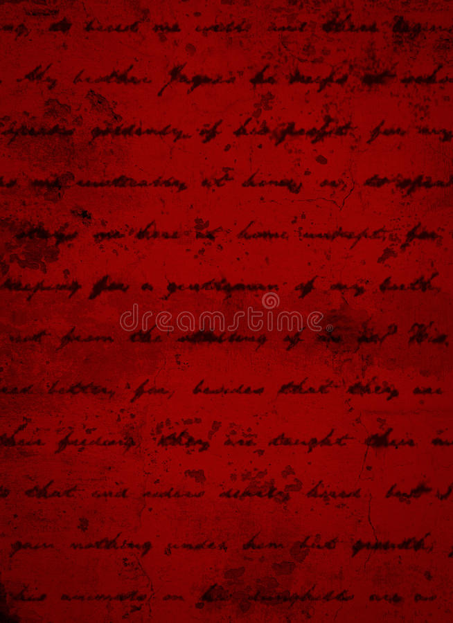 Deep Dark Red Grunge Background with Black Script Writing royalty free stock images