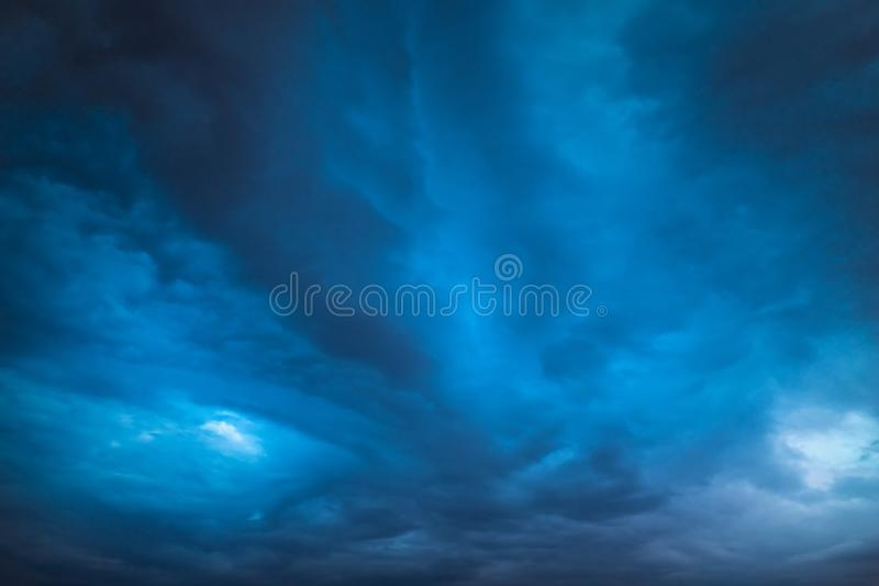 Deep dark sky, storm clouds. stock images
