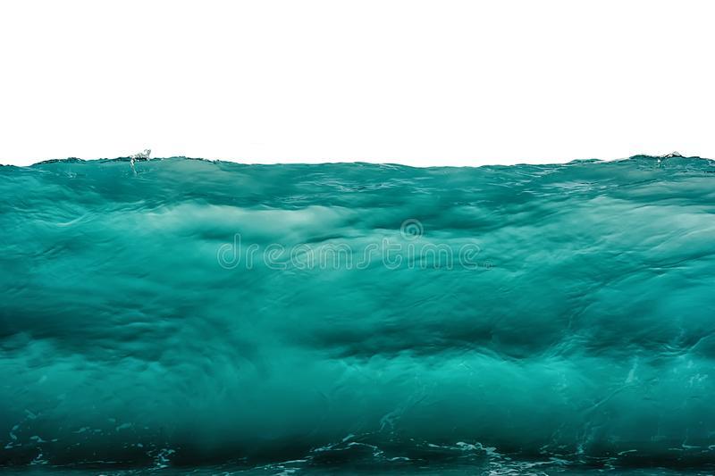 Deep dark turquoise blue underwater background isolated on white. Sea or ocean storm wave front view. Climate nature concept stock photo