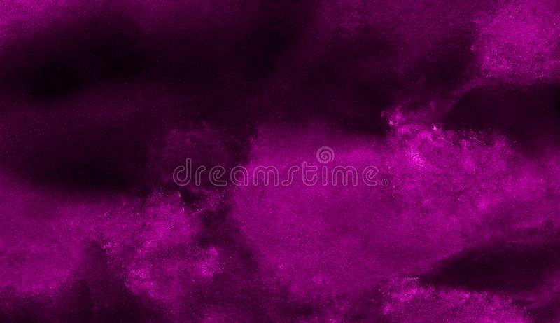 Deep dark violet neon lights watercolor on black background. Paper textured aquarelle canvas for creative design with scratches stock photography