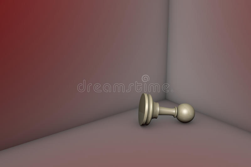 Deep depression (chess metaphor). Grey pawn in the red corner. 3d image stock illustration