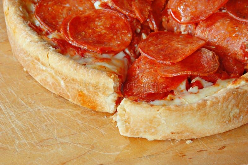 Deep Dish Pepperoni Pizza stock image