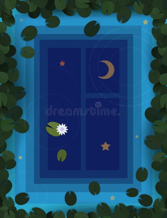 Deep dive to the night dream concept, reflection window night with moon and stars in the water of lilies pond,. Vector royalty free illustration