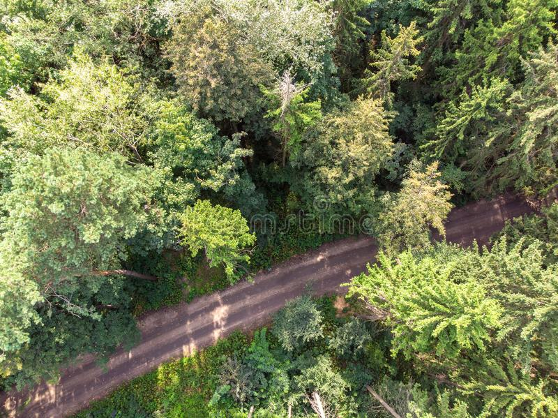 Deep forest and countryside road. aerial photography. Beautiful natural scene. deep forest and countryside road. aerial drone photography royalty free stock photos