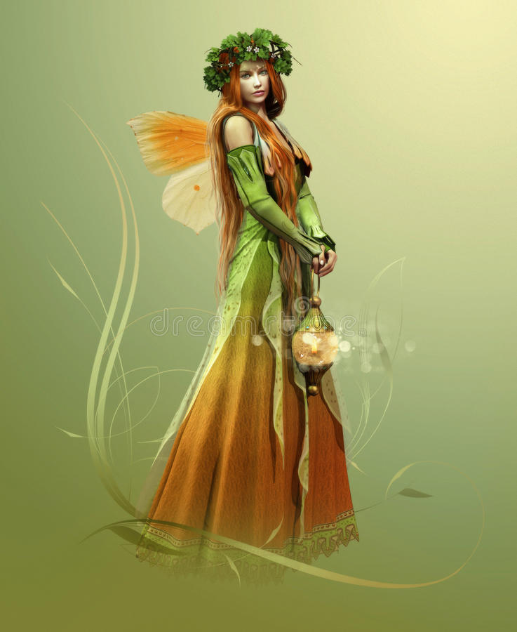 Deep Forest Elf. Elf who lives in the forest stock illustration