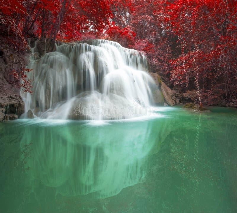Deep forest waterfall in autumn scene at Huay Mae Kamin waterfall National Park Kanjanaburi Thailand royalty free stock photography