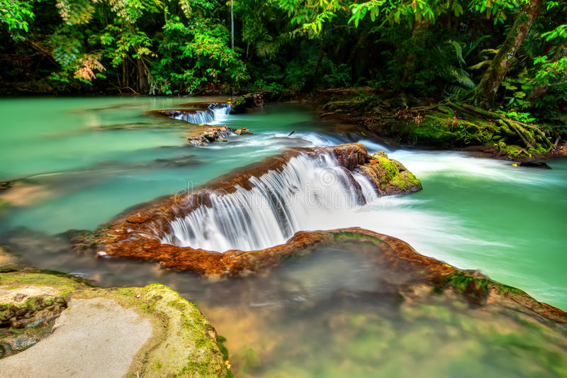 Deep forest Waterfall HDR stock photo