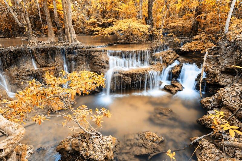 Deep forest Waterfall in Kanchanaburi (Huay Mae Kamin) stock image