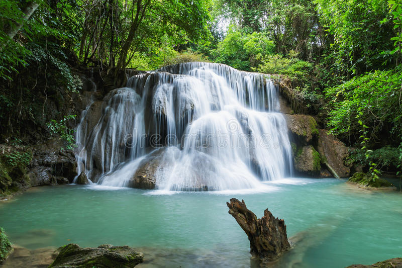 Deep forest waterfall in national park. Thailand(Waterfall Huay Mae Kamin royalty free stock photography