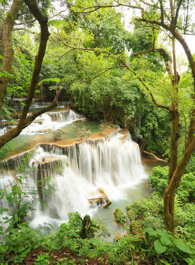 Deep forest waterfall. In Thailand (Huay Mae Ka Min waterfall stock images