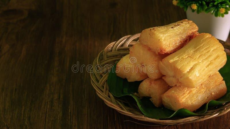 Deep fried cassava root stock photography