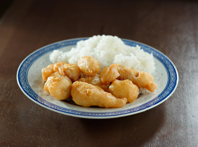 Deep fried chinese chicken with rice royalty free stock photography