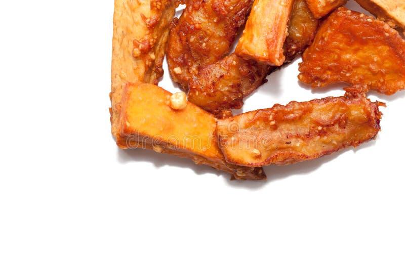 Deep fried a coupé en tranches la banane, taro, patate douce image libre de droits