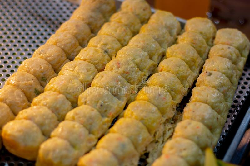 Deep Fried Crab Rolls or Hoi Jo. In the market royalty free stock images