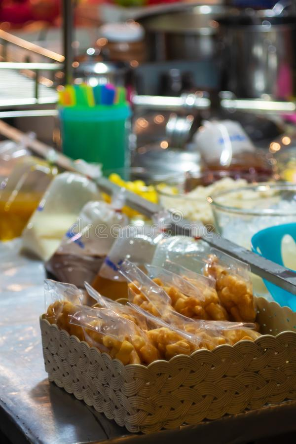 Deep-fried dough stick in the shop Thai Soy Milk of Thailand street food. Thai market royalty free stock photography