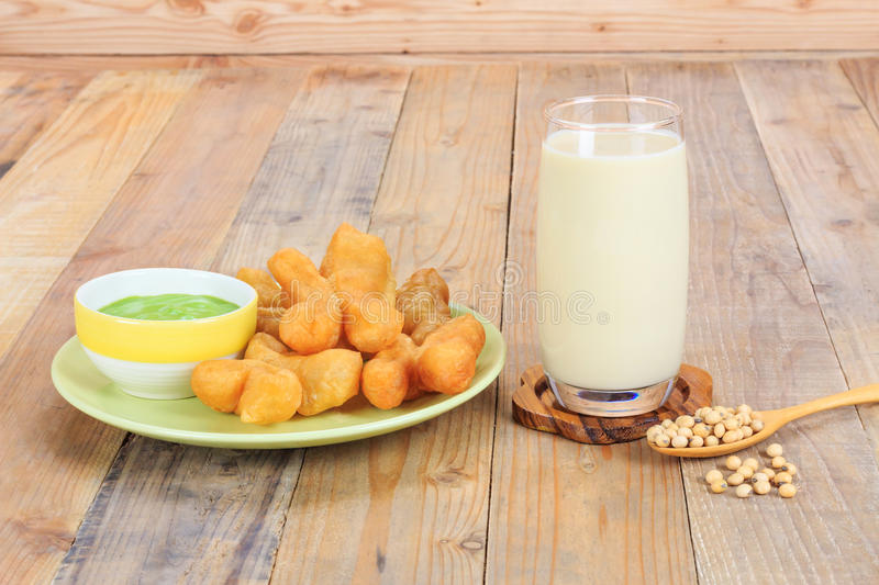 Deep-fried dough stick and soymilk. Dish of deep-fried dough stick and soymilk royalty free stock image