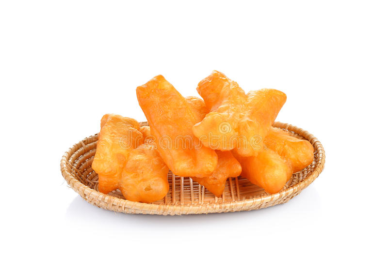 Deep fried dough stick on white background. Deep fried dough stick on a white background stock photography