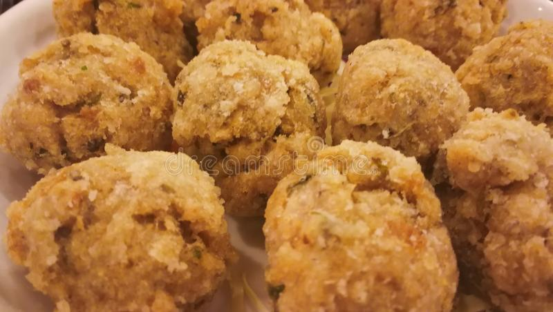 Deep Fried Fish Meat Ball. At North Point Fung Shing Restaurant in Hong Kong. It is a traditional Cantonese food royalty free stock image