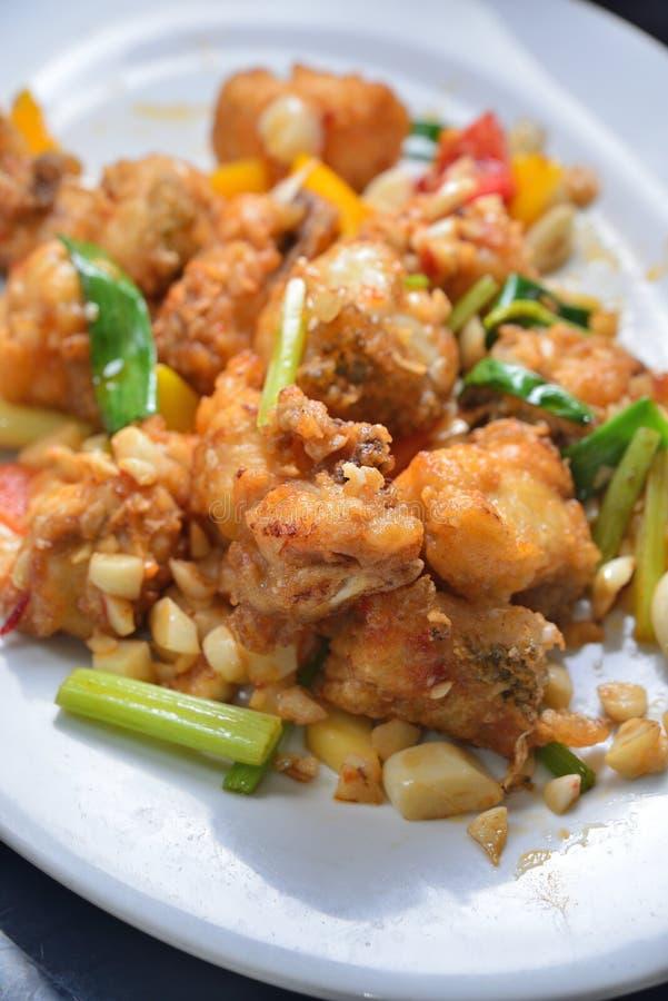 Deep fried grouper fish fillet stock photo