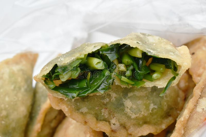 Deep fried Guizhou of dumpling stuffed slice garlic chive in bag stock images