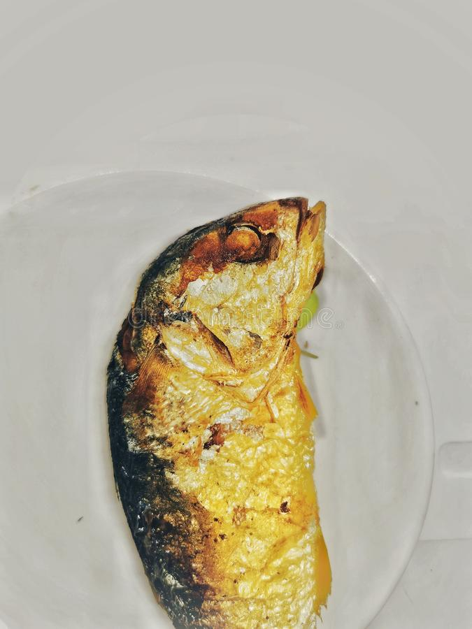 Deep fried mackerel Fish on the white Easter VEGA Food Meal for Thai people in Bangkok stock photography