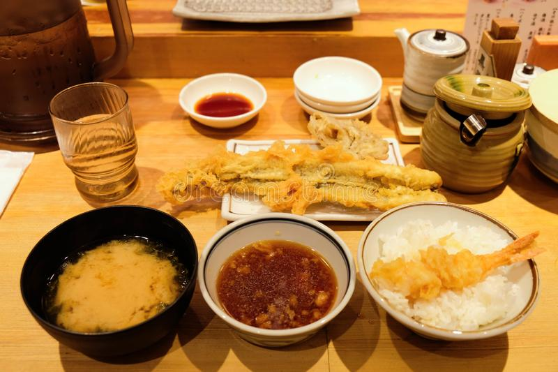 Deep fried japanese meal set royalty free stock images