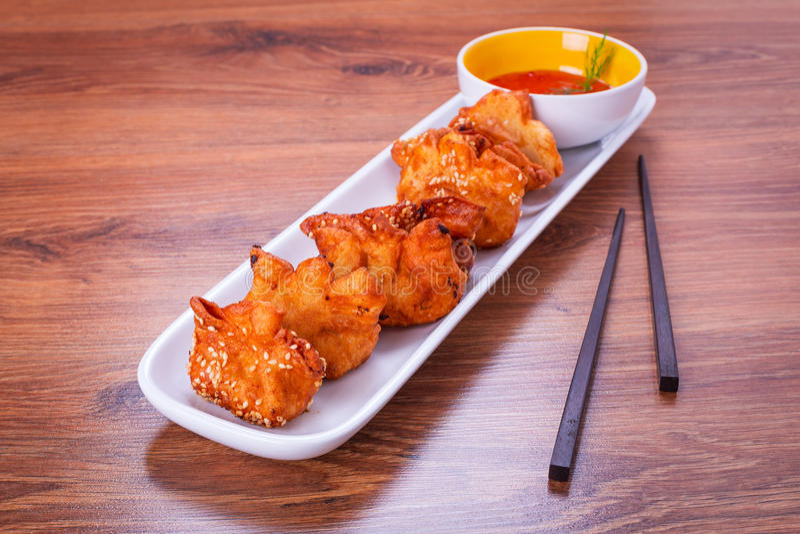 Deep fried prawn dumplings stock photography