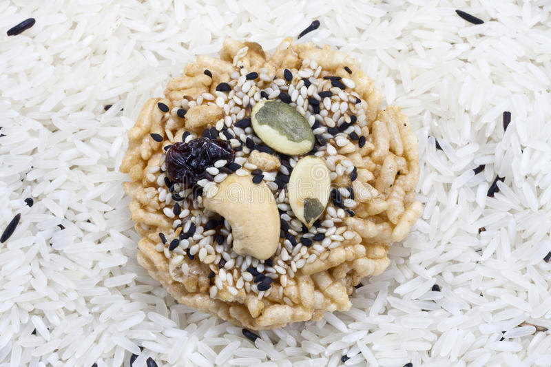 Deep fried rice ,topping with cereal and nut