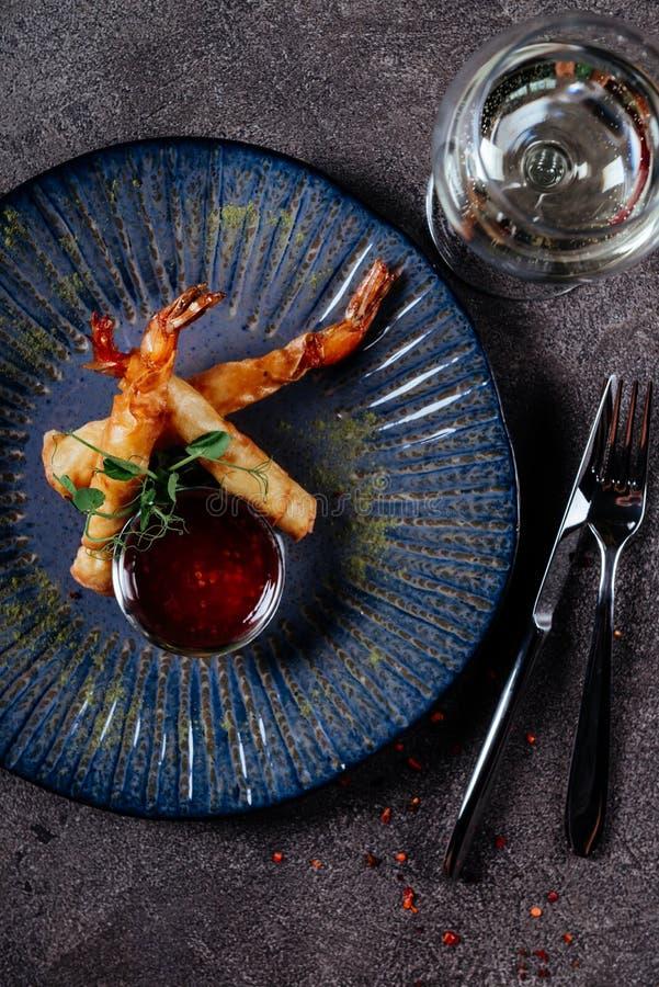 Deep fried shrimp platter. stock photos