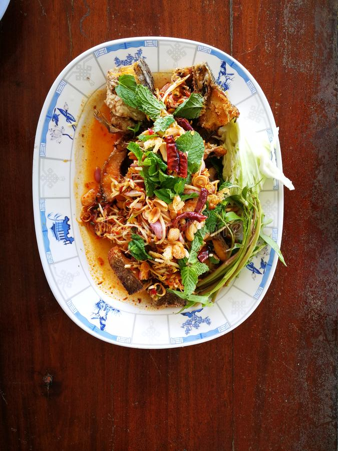 Deep fried spicy Snakehead Fish running in garden stock image