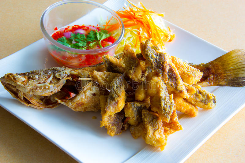 Deep fried whole sea perch with fish sauce stock photo for Deep fried whole fish