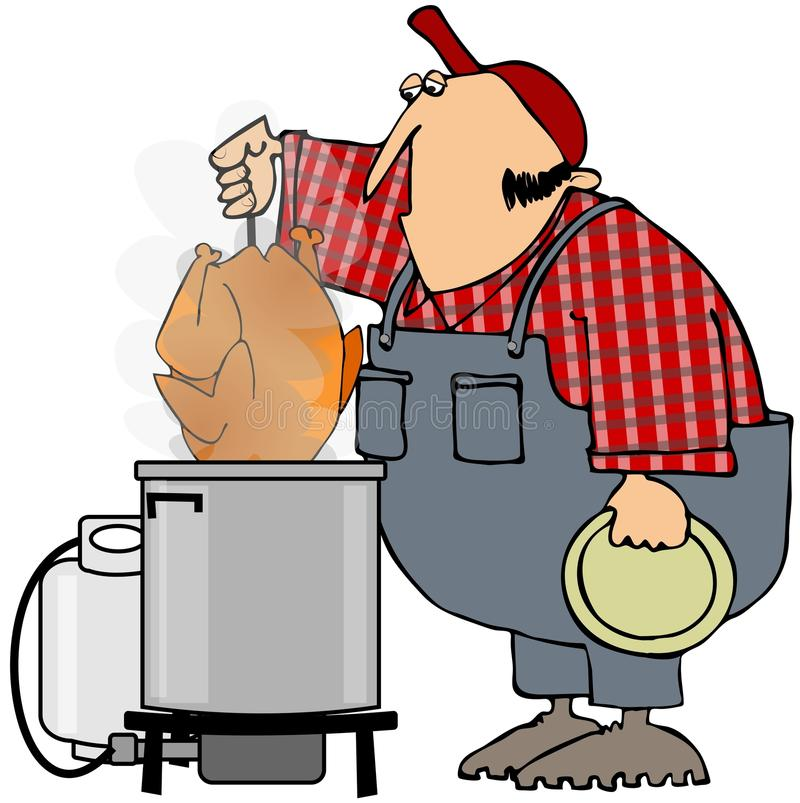Deep Frying A Turkey. This illustration depicts a man pulling a turkey out of a gas deep fryer stock illustration