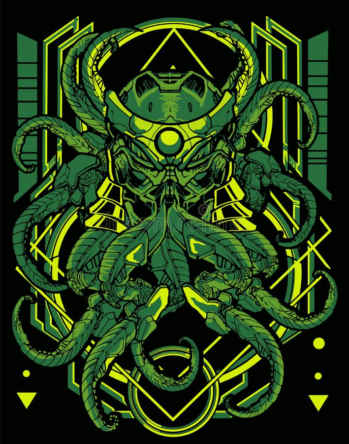 Deep Green light colour Cybernetic octopus monster with vintage sacred geometry background royalty free illustration