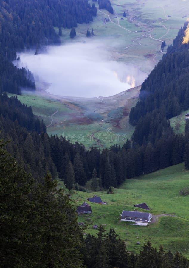 Deep green valley with lake, Switzerland stock photo
