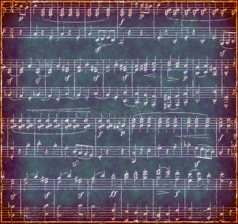 Dark green Grunge Music Background. Deep green vintage textured sheet music with white musical notes.   Treble clef and bass clef notation stock images