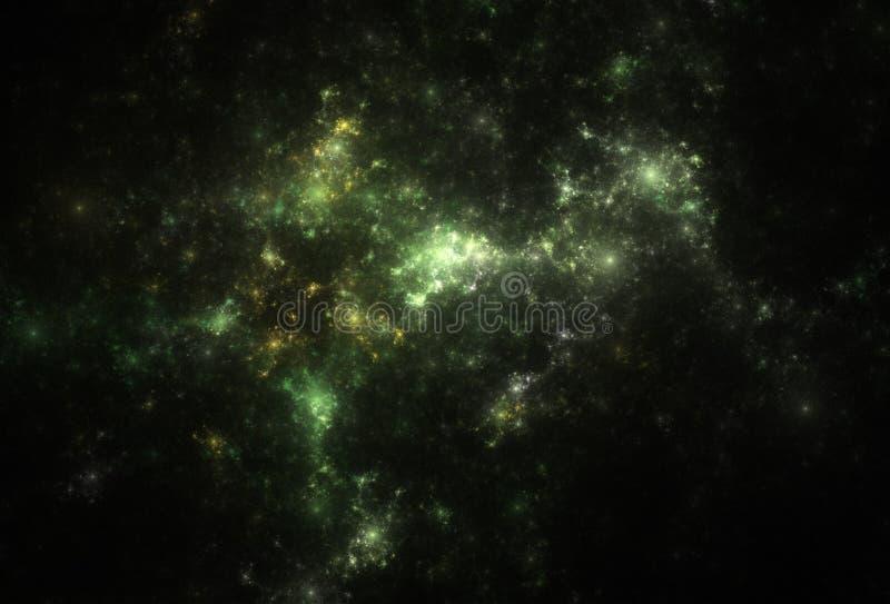 Deep green and yellow nebulae and shining stars. royalty free stock photo