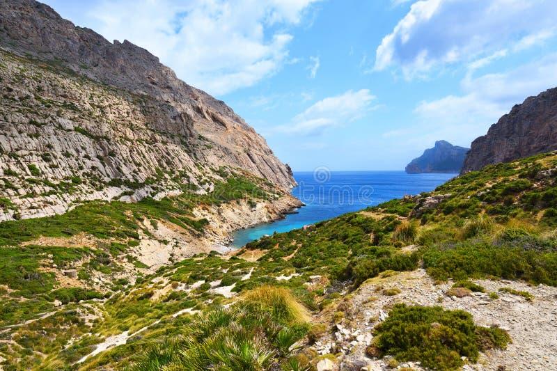 Deep hidden valley with sea and cliffs. On Majorca, Spain stock photo