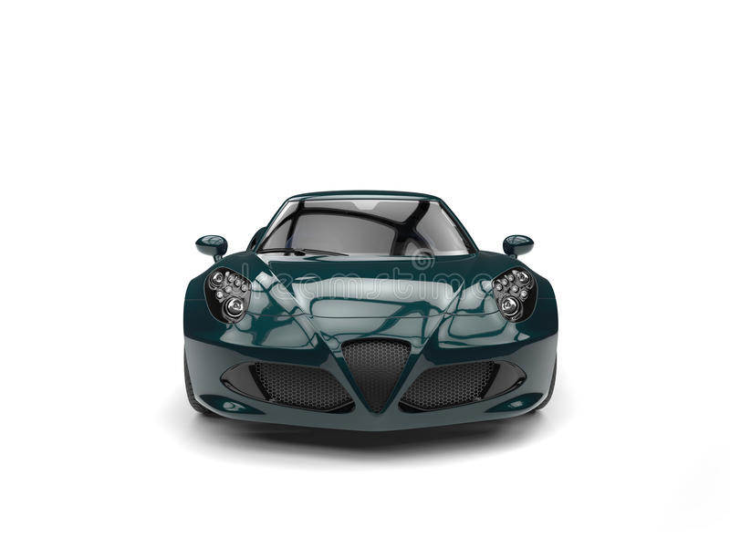 Deep jungle green modern luxury sports car - front view royalty free illustration