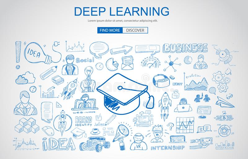 Deep Learning concept with Business Doodle design style: online vector illustration