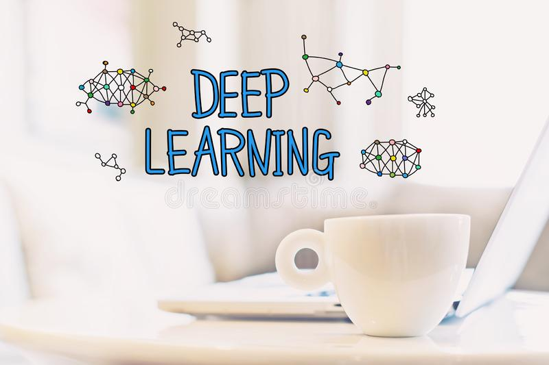 Deep Learning concept with a cup of coffee stock images