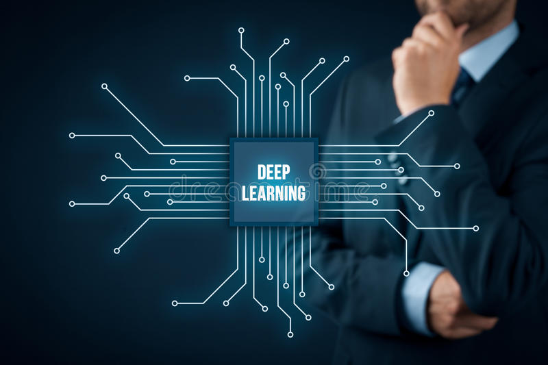 Deep learning concept. Deep structured learning, hierarchical learning or deep machine learning concept - learning methods based on learning representations of stock photo