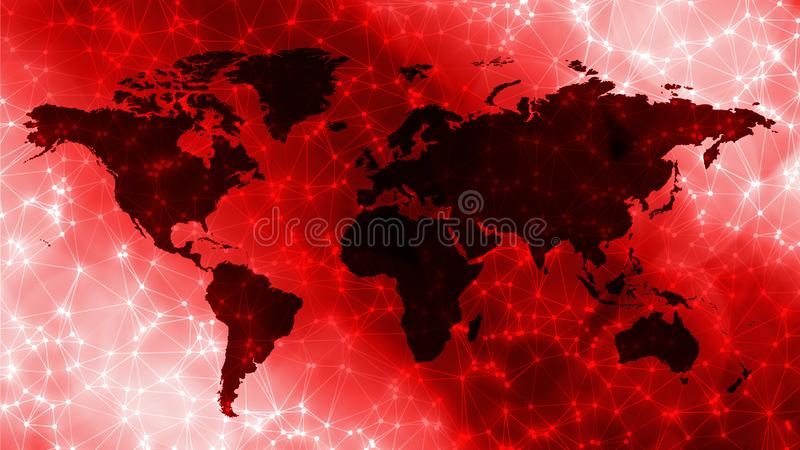 Deep learning process, polygonal lines connected with dots. Connected dots with lines and graphic world map, creative abstract background. Global business or royalty free stock photos
