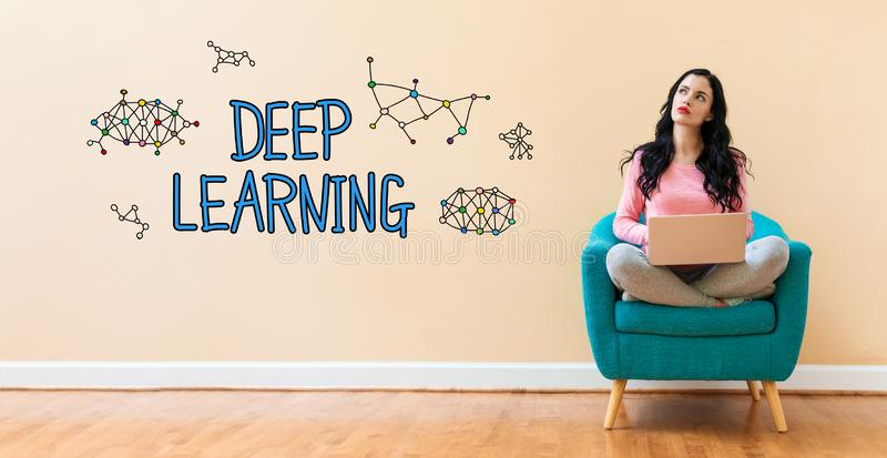 Deep learning with woman using a laptop. Deep learning with young woman using a laptop computer royalty free stock photos